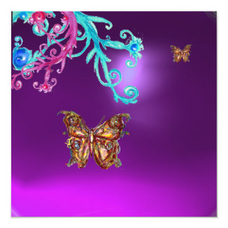 BUTTERFLY  AMETHYST , purple blue bright pink red Card