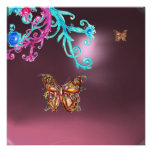 BUTTERFLY  AMETHYST , purple blue bright pink red Custom Invitation