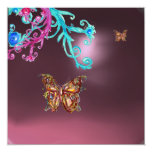 BUTTERFLY  AMETHYST , purple blue bright pink red 13 Cm X 13 Cm Square Invitation Card