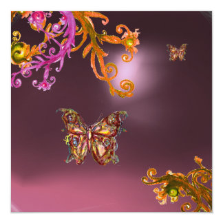 BUTTERFLY AMETHYST,purple bright pink yellow brown Card