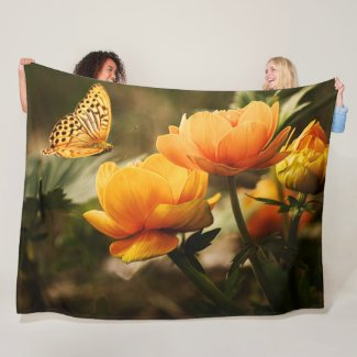 BUTTERFLY and a FLOWER Fleece Blanket