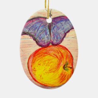 Butterfly and Apple Christmas Ornament