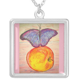 Butterfly and Apple Silver Plated Necklace