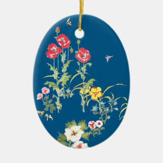 Butterfly and Bee in the Poppy Garden Christmas Ornament