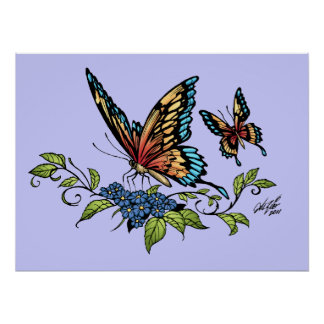 Butterfly and Butterflies full color by Al Rio Poster
