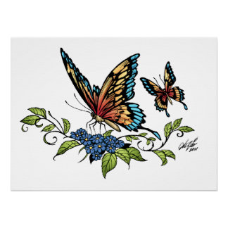 Butterfly and Butterflies full color by Al Rio Print