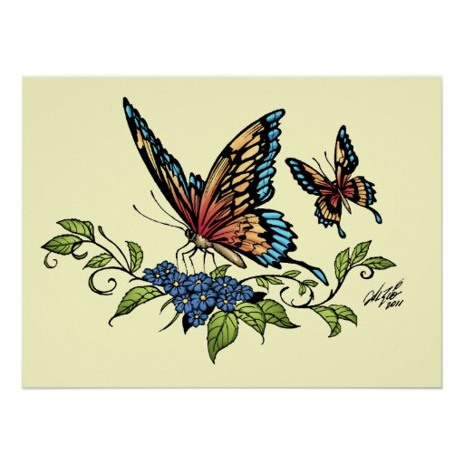 Butterfly and Butterflies full color by Al Rio Posters