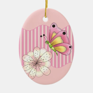 Butterfly and Cherry Blossom Ceramic Oval Decoration