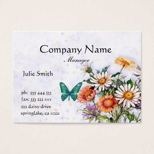 Butterfly and Daisies Business Card