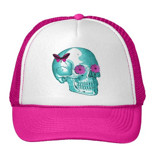BUTTERFLY AND DAISY SKULL PRINT MESH HAT