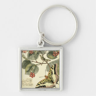 Butterfly and Dragonfly with Red Flowers Keychains