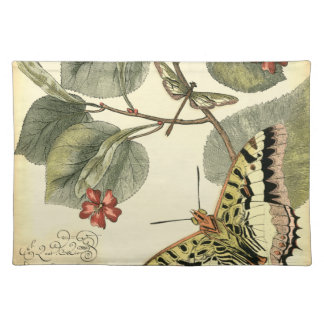 Butterfly and Dragonfly with Red Flowers Placemat