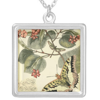 Butterfly and Dragonfly with Red Flowers Silver Plated Necklace