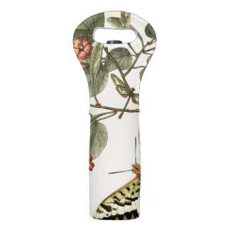 Butterfly and Dragonfly with Red Flowers Wine Bag