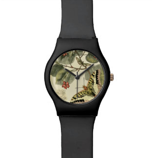 Butterfly and Dragonfly with Red Flowers Wristwatch