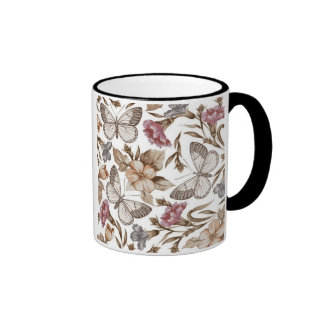 Butterfly And Flower Colorful Pattern Mugs