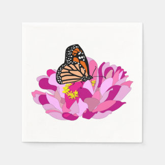 Butterfly And Flower Disposable Napkins