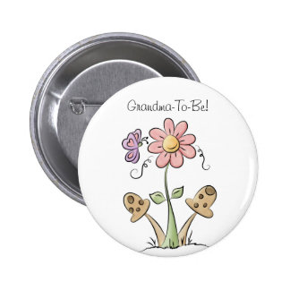 Butterfly and Flower Grandmother Button