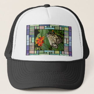 Butterfly and flower trucker hat