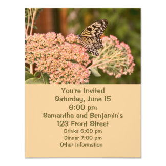 Butterfly and Flowers 11 Cm X 14 Cm Invitation Card