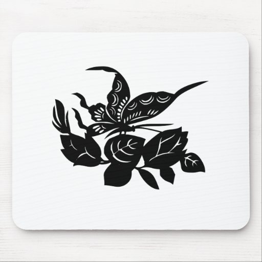 Butterfly and Flowers Mouse Pads
