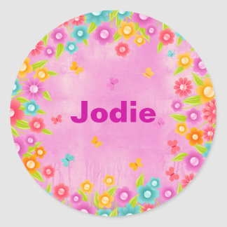 Butterfly and flowers party name round sticker