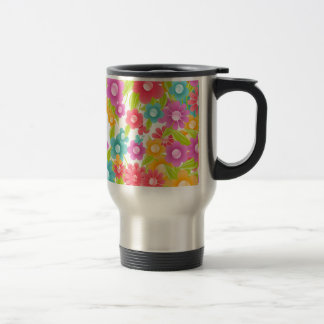 Butterfly and flowers stainless steel travel mug