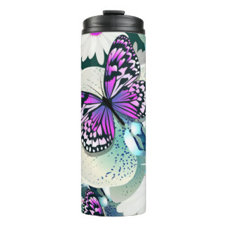 Butterfly and Flowers Thermal Tumbler