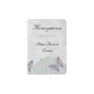 Butterfly and Lace Grooms Custom Passport Holder