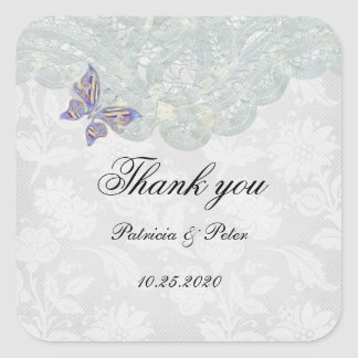 Butterfly and Lace Thank You Square Stickers