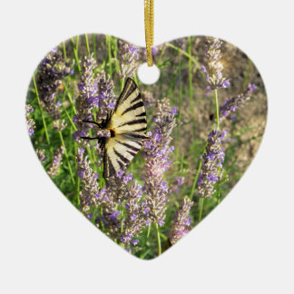 Butterfly and Lavender Christmas Ornament