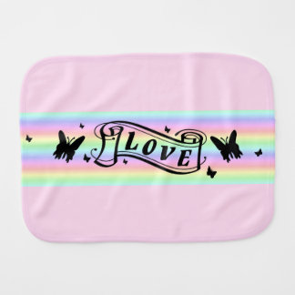 Butterfly and Love on Rainbow Burp Cloth