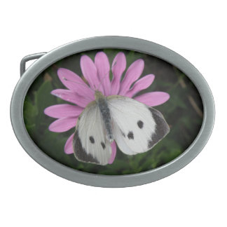 Butterfly and Pink Flower Belt Buckle