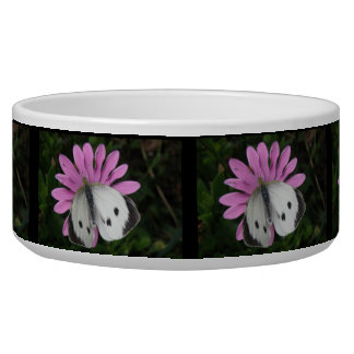 Butterfly and Pink Flower Dog Bowl