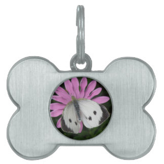 Butterfly and Pink Flower Pet Tag