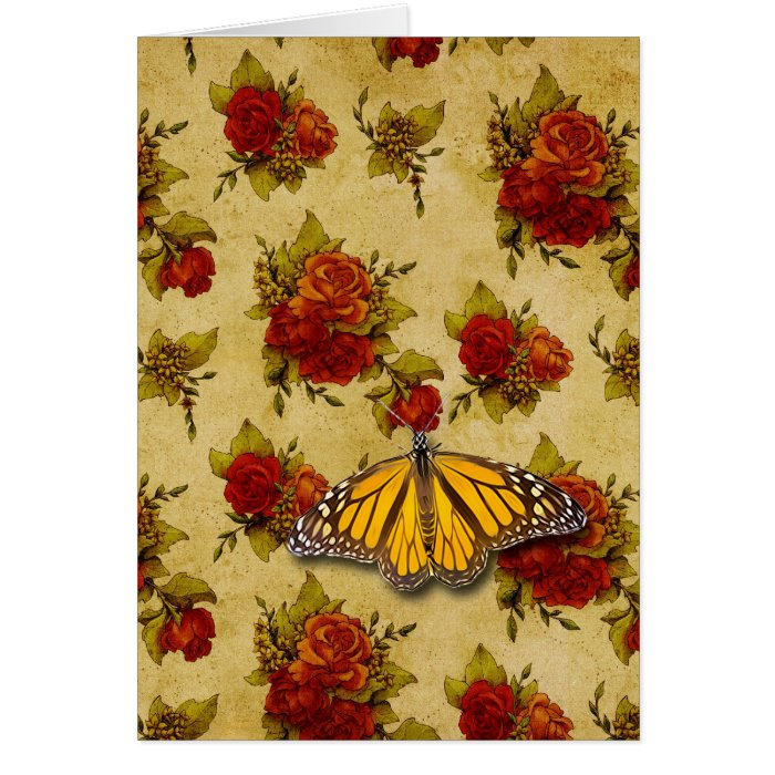 BUTTERFLY AND ROSES GREETING CARD