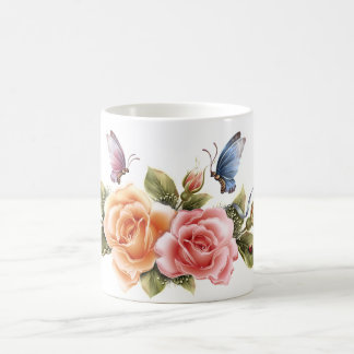 butterfly and roses pretty mug - butterfly rose