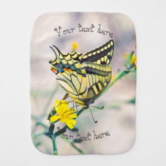 Butterfly and Small Yellow Flowers Burp Cloth