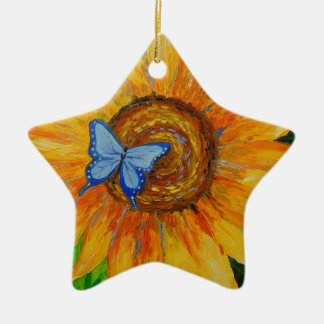 Butterfly and sunflower christmas ornament