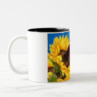 Butterfly and Sunflower Cup/Mug. Two-Tone Coffee Mug