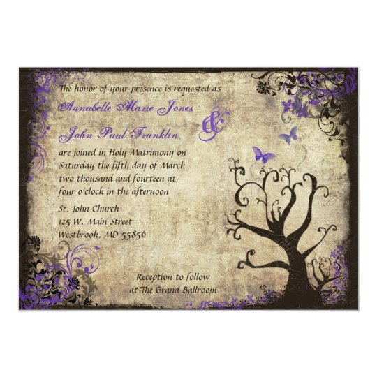 Butterfly and Tree Vintage Wedding Invitation