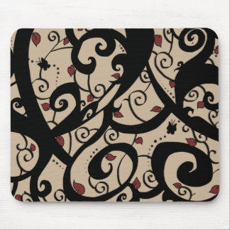 Butterfly and Vine Designs-Beige- Series #2- MP- Mouse Pad