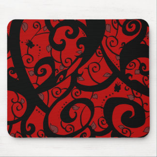 Butterfly and Vine Designs-Red- Series #2- MP- Mousepad