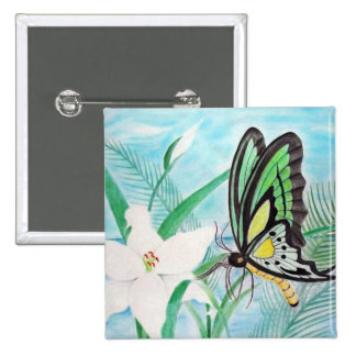 Butterfly and White Lillies 15 Cm Square Badge