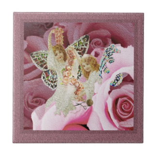 Butterfly Angels Making Wreaths Small Square Tile