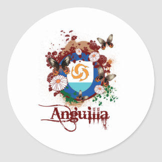 Butterfly Anguilla Round Sticker
