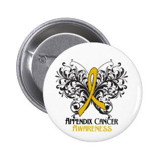 Butterfly Appendix Cancer Awareness 6 Cm Round Badge
