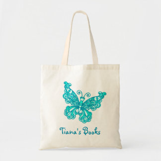 Butterfly aqua kids named library tote bag