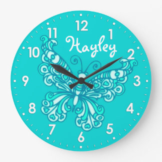 Butterfly aqua mint girls room name wall clock