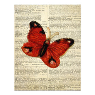 Butterfly art on vintage dictionary page Red Custom Invites
